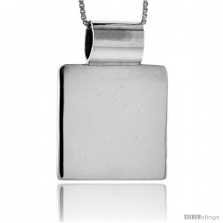 Sterling Silver Square Engravable Disc Slide / Pendant 7/8 in tall