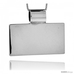 Sterling Silver Large Rectangular Engravable Disc Slide / Pendant 13/16 in tall