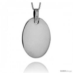 Sterling Silver Oval Engravable Disc Slide / Pendant 1 1/8 in tall