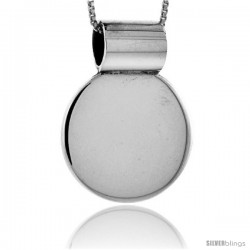 Sterling Silver Round Engravable Disc Slide / Pendant 7/8 in tall