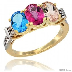 10K Yellow Gold Natural Swiss Blue Topaz, Pink Topaz & Morganite Ring 3-Stone Oval 7x5 mm Diamond Accent