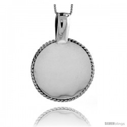 Sterling Silver Round Engravable Disc Pendant Rope Edge 1 1/4 in tall