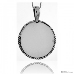 Sterling Silver Round Engravable Disc Pendant Rope Edge 1 3/16 in tall