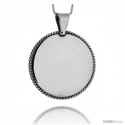 Sterling Silver Round Engravable Disc Pendant Rope Edge 1/1/2 in tall