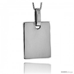 Sterling Silver Square Engravable Disc Pendant 1 1/8 in tall