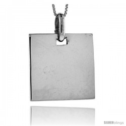 Sterling Silver Rectangular Engravable Disc Pendant 7/8 in tall