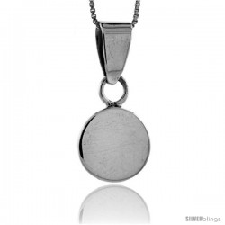 Sterling Silver Small Round Engravable Disc Pendant 9/16 in tall