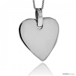 Sterling Silver Heart Shaped Engravable Disc Pendant 1 in tall