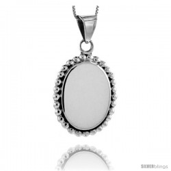Sterling Silver Beaded Oval Engravable Disc Pendant Rope Edge 1 5/16 in tall