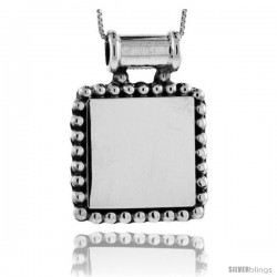 Sterling Silver Beaded Square Engravable Disc Pendant Beaded Edge 1 1/8 in tall