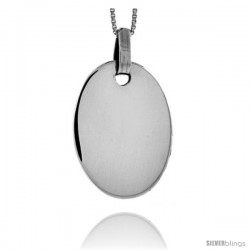 Sterling Silver Oval Engravable Disc Pendant 1 1/8 in tall