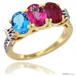 10K Yellow Gold Natural Swiss Blue Topaz, Pink Topaz & Ruby Ring 3-Stone Oval 7x5 mm Diamond Accent