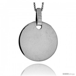 Sterling Silver Round Engravable Disc Pendant 7/8 in tall