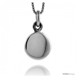 Sterling Silver Small Round Engravable Disc Pendant 1/2 in tall
