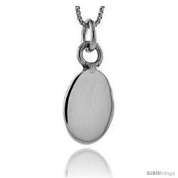 Sterling Silver Small Oval Pendant 11/16 in tall