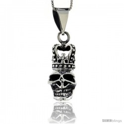 Sterling Silver Skull with Crown Pendant, 1 3/8 in tall