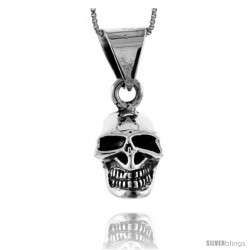 Sterling Silver Skull Pendant, 1 in tall