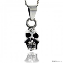 Sterling Silver Skull Pendant, 3/4 in tall