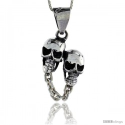 Sterling Silver Double Skull Pendant, 1 1/8 in tall