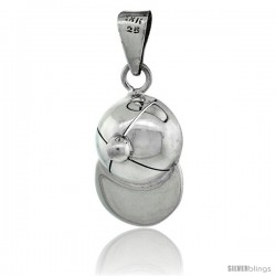 Sterling Silver Baseball Cap Pendant, 1 1/4 in tall