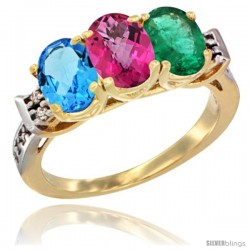 10K Yellow Gold Natural Swiss Blue Topaz, Pink Topaz & Emerald Ring 3-Stone Oval 7x5 mm Diamond Accent