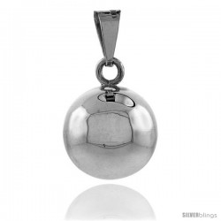 Sterling Silver Harmony Ball Pendant, 3/4 in with snake chain.