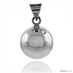 Sterling Silver Harmony Ball Pendant, 7/8 in with snake chain.