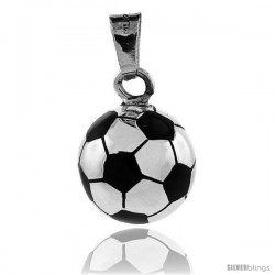Sterling Silver Soccer Ball Pendant, Enameled 3/4 in round with snake chain.