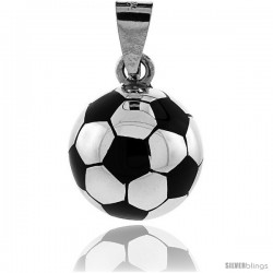 Sterling Silver Enameled Soccer Ball Pendant, 1 incc round with snake chain.