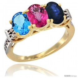 10K Yellow Gold Natural Swiss Blue Topaz, Pink Topaz & Blue Sapphire Ring 3-Stone Oval 7x5 mm Diamond Accent