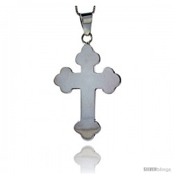 Sterling Silver Eastern Orthodox Cross Pendant, 1 7/8 in tall