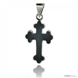 Sterling Silver Eastern Orthodox Cross Pendant, Black Enameled 1 3/4 in tall