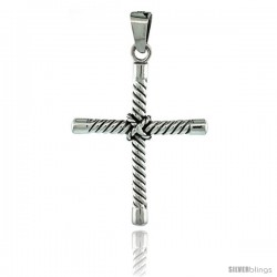Sterling Silver Tubular Twisted Cross Pendant, 2 1/16 in tall
