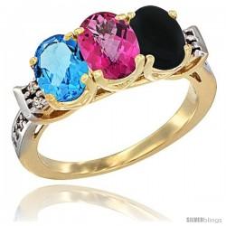 10K Yellow Gold Natural Swiss Blue Topaz, Pink Topaz & Black Onyx Ring 3-Stone Oval 7x5 mm Diamond Accent