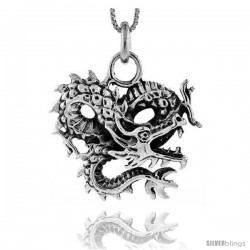 Sterling Silver Chinese Dragon Pendant, 1 1/8 in tall -Style Px432