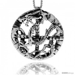 Sterling Silver Dragon in Circle Pendant, 1 1/4 in (33 mm)