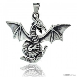 Sterling Silver Dragon Pendant, 2 in (50 mm) wide