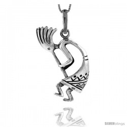 Sterling Silver Large Kokopelli Pendant, 1 3/4 in tall