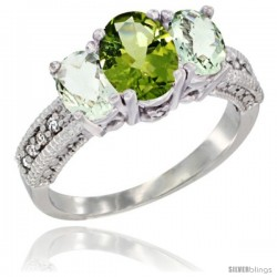 14k White Gold Ladies Oval Natural Peridot 3-Stone Ring with Green Amethyst Sides Diamond Accent