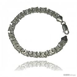Sterling Silver Italian Flat Byzantine Chain Necklaces & Bracelets 7mm