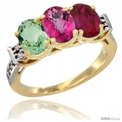 10K Yellow Gold Natural Green Amethyst, Pink Topaz & Ruby Ring 3-Stone Oval 7x5 mm Diamond Accent