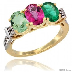 10K Yellow Gold Natural Green Amethyst, Pink Topaz & Emerald Ring 3-Stone Oval 7x5 mm Diamond Accent