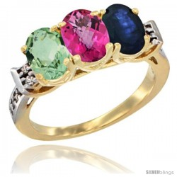 10K Yellow Gold Natural Green Amethyst, Pink Topaz & Blue Sapphire Ring 3-Stone Oval 7x5 mm Diamond Accent