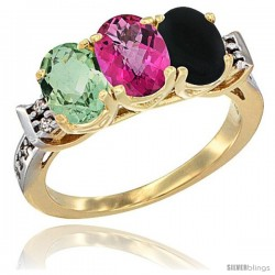 10K Yellow Gold Natural Green Amethyst, Pink Topaz & Black Onyx Ring 3-Stone Oval 7x5 mm Diamond Accent