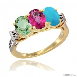 10K Yellow Gold Natural Green Amethyst, Pink Topaz & Turquoise Ring 3-Stone Oval 7x5 mm Diamond Accent