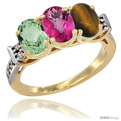 10K Yellow Gold Natural Green Amethyst, Pink Topaz & Tiger Eye Ring 3-Stone Oval 7x5 mm Diamond Accent