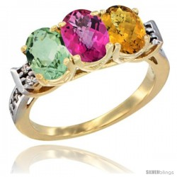 10K Yellow Gold Natural Green Amethyst, Pink Topaz & Whisky Quartz Ring 3-Stone Oval 7x5 mm Diamond Accent