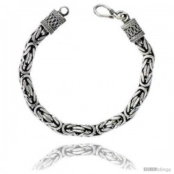 Sterling Silver Bali BYZANTINE Chain Necklaces & Bracelets 7mm Very Heavy Antiqued Finish Nickel Free