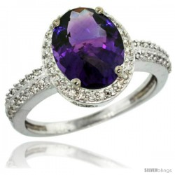 14k White Gold Diamond Amethyst Ring Oval Stone 10x8 mm 2.4 ct 1/2 in wide
