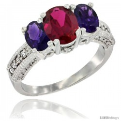 14k White Gold Ladies Oval Natural Ruby 3-Stone Ring with Amethyst Sides Diamond Accent